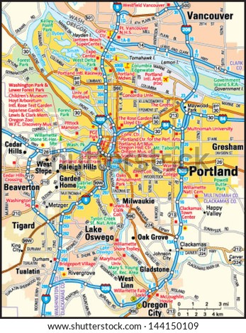 Portland Oregon Area Map Stock Vector (Royalty Free) 144150109 ...
