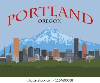 Portland Oregon city downtown skyline with Mount Hood color poster vector illustration