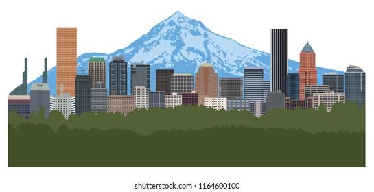 Portland Oregon city downtown skyline with Mount Hood color vector illustration