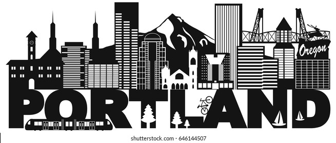 Portland Oregon Outline Silhouette with City Skyline Downtown Panorama and Text Black Isolated on White Background vector Illustration