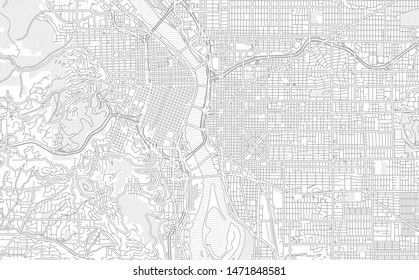 Portland, Oregon, USA, bright outlined vector map with bigger and minor roads and steets created for infographic backgrounds.
