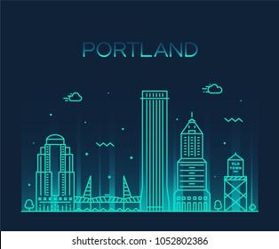 Portland, Oregon, USA. Trendy vector illustration, linear style