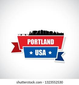Portland skyline - Maine, United States of America, USA - vector illustration