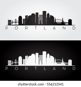 Portland USA skyline and landmarks silhouette, black and white design, vector illustration.