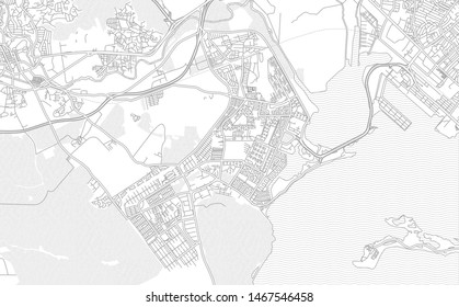 Portmore, Clarendon, Jamaica, bright outlined vector map with bigger and minor roads and streets created for infographic backgrounds.