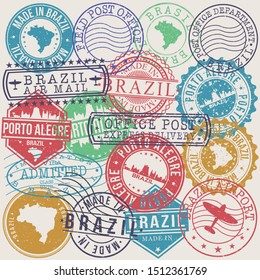 Porto Alegre Brazil Set of Stamps. Travel Stamp. Made In Product. Design Seals Old Style Insignia.