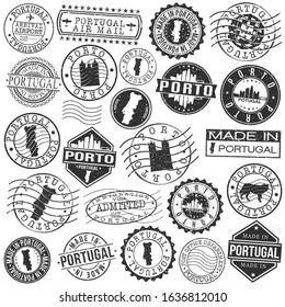 Porto Portugal Set of Stamp. Vector Art Postal Passport Travel Design. Travel and Business Seals.