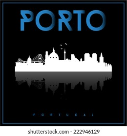 Porto, Portugal skyline silhouette vector design on parliament blue and black background.