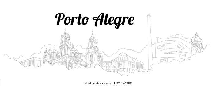 Porto-Alegre city vector panoramic hand drawing sketch illustration