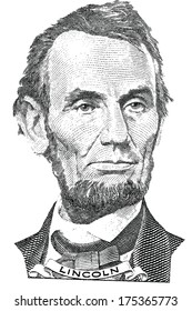 Portrait of Abraham Lincoln (vector) from the five dollar bill