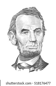 Portrait of Abraham Lincoln. Vector illustration .eps10.