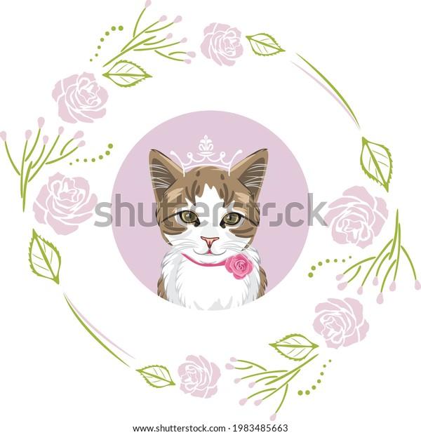 portrait-adorable-kitty-floral-frame-600