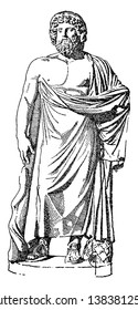 Portrait of Aesculapius - god of medicine, vintage line drawing or engraving illustration.