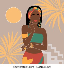 Portrait of an African American woman. Vector illustration of a fashionable black woman. Abstraction trend simple art. Avatar