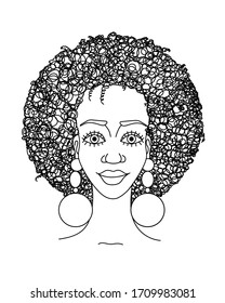 Portrait of african beautiful girl with curly hairstyle and earrings. Fashion haircut. Fashionista. Beautiful face. Vector and illustration.