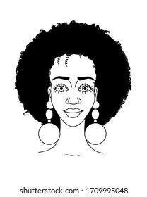 Portrait of african beautiful girl with curly hairstyle and earrings. Fashion haircut. Fashionista. Beautiful face. Black outline. Vector and illustration.