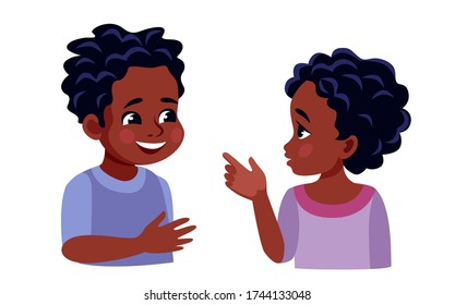 portrait of African children, they talk contentedly, gesticulate with their hands, a girl points a Polish boy