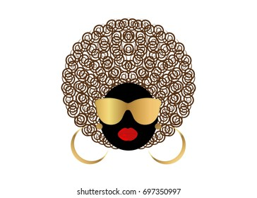 portrait African curly Women , dark skin female face with hair afro and gold glasses on isolated background