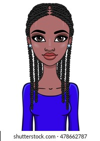 Portrait of an African girl. Vector illustration isolated on a white background.