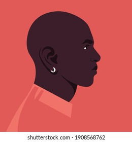 Portrait of an African man in the profile. Face of a human. Side view. Avatar.