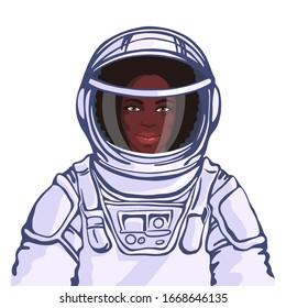 Portrait of african woman astronaut. Flat hand drawn cosmic illustration.