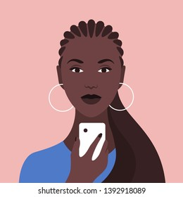 Portrait of an African woman with a phone. Diversity. Nations and races. Addiction on the smartphone and the Internet. Social networks. Vector Flat Illustration