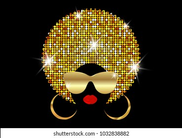 portrait African Women , dark skin female face with shiny hair afro and gold metal sunglasses in traditional ethnic golden turban, hairstyle concept, cover for black music, disco, beauty events