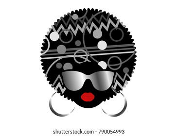 portrait African Women , dark skin female face with hair afro and metal glasses in traditional ethnic turban on isolated background , hairstyle concept