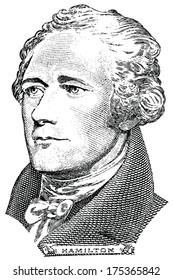 Portrait of Alexander Hamilton (vector) from the ten dollar bill