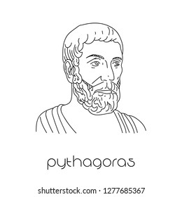Portrait of ancient greek mathematician Pythagoras.
