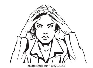Portrait Of Angry Business Woman Holding Head With Headacke Sketch Businesswoman Tired Or Upset Vector Illustration