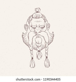 Portrait of angry Scandinavian warrior or berserker with braids hand drawn with outlines on light background. Head of god Odin, Beowulf or legendary Nordic hero. Monochrome vector illustration.