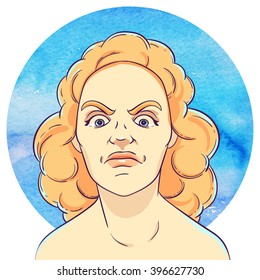 Portrait of angry young girl with red curly hair on the background of the watercolor circle