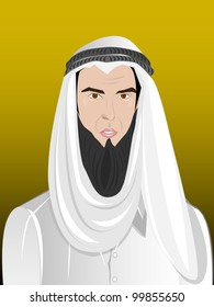 Portrait of an arab man ( Arabian Shekih) in traditional dress over isolated yellow background. EPS 10.