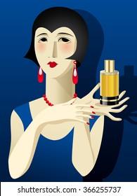 Portrait art deco woman with gold perfume bottle