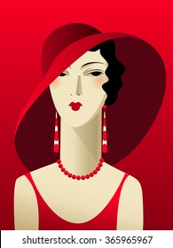 Portrait art deco woman in a red dress and a wide-brimmed hat