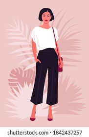 Portrait of an Asian woman who stands in full height with shoulder bag. Vector illustration