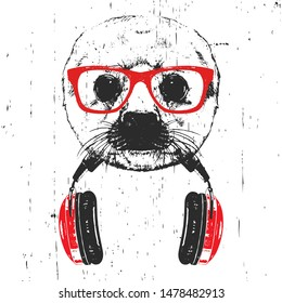 Portrait of Baby Fur Seal with glasses and headphones. Hand-drawn illustration. Vector