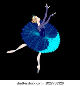 The Portrait of a Ballerina. A Ballet Dancer Girl. Freehand Drawing. Vector Ilustration. Classical Dance. Ballet Costume Design. Sketch of a Tutu Dress. A Beautiful Young Blonde Woman. Cartoon Style/