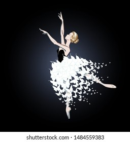 The Portrait of a Ballerina in a a Fantasy Tutu-Dress of White Butterflies. A Dancer Girl. Freehand Drawing. Vector Ilustration. Ballet Costume Design. A Beautiful Young Blonde Woman. Cartoon Style.