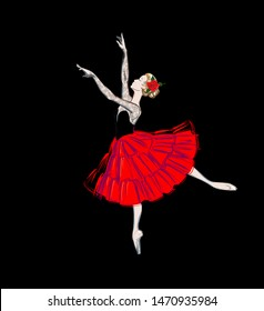 The Portrait of a Ballerina in Puff-Skirt Costume and Red Rose. Classical Ballet Dancer Girl in Red Tutu-Dress. Freehand Drawing. Free Hand Draw. Fashion Vector Illustration. A Beautiful Woman