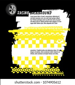Portrait banners with grunge checkered racing elements and a copyspace. Vector illustration in black, yellow and white colours. Automotive rallying concept in modern style.