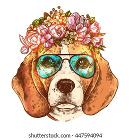 Portrait Of Beagle Dog With Flower Floral Wreath And Sunglasses. Sketch Color Hand Drawn Vintage Style. Hipster Animal