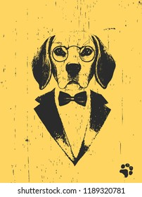 Portrait of Beagle in suit, hand-drawn illustration, vector