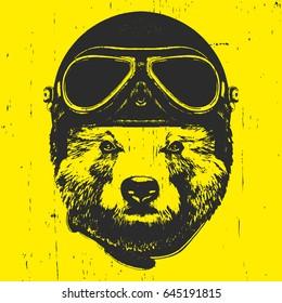 Portrait of Bear with Helmet. Vector