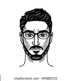 Portrait of bearded man for barbershop Hipster style