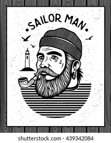 Portrait of bearded sailor with tobacco pipe.  Hipster sailor man. Bearded boat captain smoking pipe.