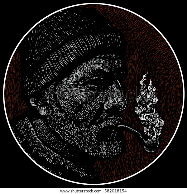 Portrait of bearded sailor with tobacco pipe.Sailor man. Bearded boat captain smoking pipe. Vector illustration