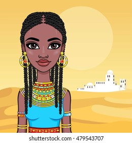 Portrait of a beautiful African girl in ancient clothes. Background - the desert. Vector illustration.