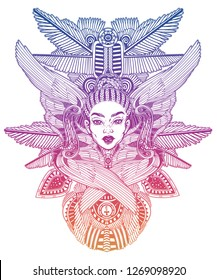 Portrait of the a beautiful African winged goddess. Hand drawn romantic ethnic winged Angel girl. Alchemy, religion, spirituality, occult magic, tattoo. Isolated vector illustration.